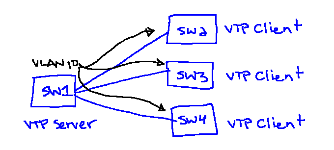 VLANs replicating from a VTP server to VTP client