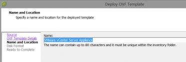 Name the vCenter Server VM