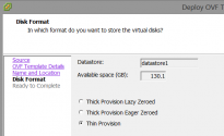 Select the disk format